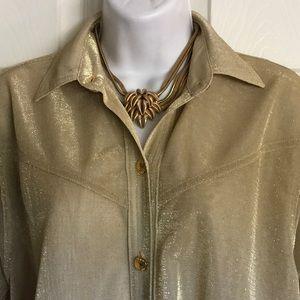 NWOT...CACHE subtle gold shimmer blouse